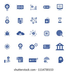 set of blockchain tecnology icons, with blue glypth style, use for business web icon, analyst, bitcoin, business, cryption, digital business, marketing website, e money.