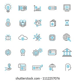 set of blockchain tecnology icons, with thin line style, use for business web icon, analyst, bitcoin, business, cryption, digital business, marketing, e money.