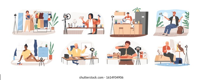 Set of bloggers and vloggers cartoon people making internet content vector flat illustration. Character creating video for blog or vlog review. Creative famous influencer shooting vlogging occupation.