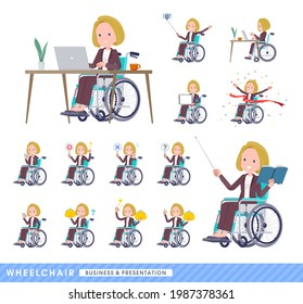 A set of blond hair business women in a wheelchair.About business and presentations.It's vector art so easy to edit.