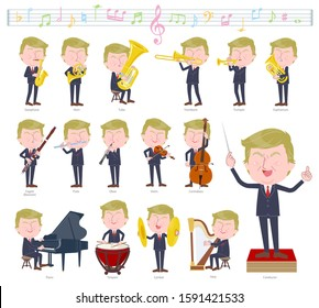 A set of blond hair old men on classical music performances.There are actions to play various instruments such as string instruments and wind instruments.It's vector art so it's easy to edit.