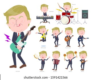 A set of blond hair old men playing rock 'n' roll and pop music.There are also various instruments such as ukulele and tambourine.It's vector art so it's easy to edit.