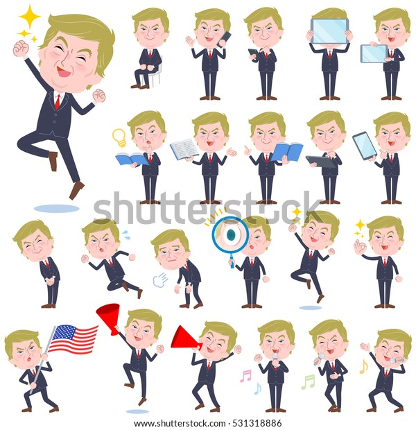 A set of Blond hair suit style Old man with digital equipment such as smartphones. There are actions that express emotions. It's vector art so it's easy to edit.