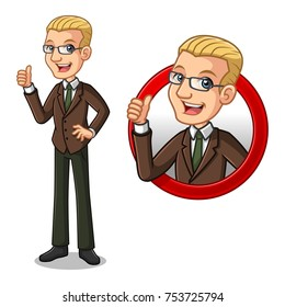 Set of blonde businessman in brown suit cartoon character design, inside the circle logo concept with showing like, ok, good job, satisfied sign gesture with his thumbs up, isolated against white back