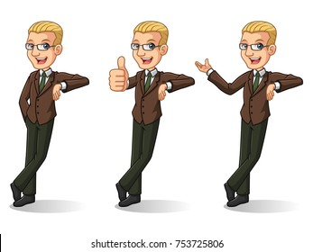 Set of blonde businessman in brown suit leaning against cartoon character design, isolated against white background.