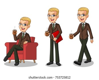 Set of blonde businessman in brown suit cartoon character design making a break relaxing with holding drinking a coffee tea, isolated against white background.