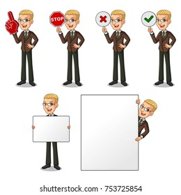 Set of blonde businessman in brown suit holding a blank empty sign board banner billboard card poster, number one big foam hand finger, stop, right correct yes and wrong no signs.