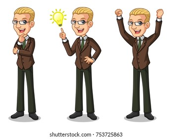 Set of blonde businessman in brown suit get great idea inspiration light bulb, thinking thoughtful gesture, and celebrating victory winner successful success with raised up arms.