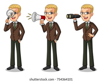Set of blonde businessman in brown suit cartoon character design, looking through binoculars, holding magnifying glass, and talking yelling shouting announcement with megaphone, isolated against white
