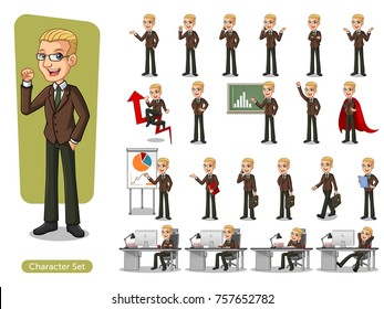 Set of blonde businessman in brown suit cartoon character design with different poses, isolated against white background.