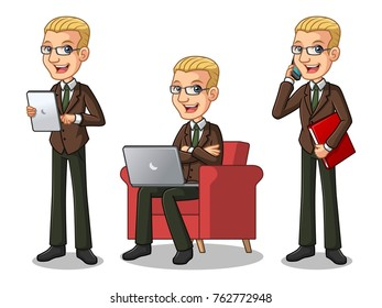 Set of blonde businessman in brown suit cartoon character design working on gadgets, tablet, laptop computer, and mobile phone, isolated against white background.