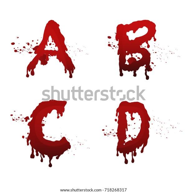 Set Blood Alphabet Vector Fontcollection Blood Stock Vector (Royalty