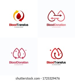 Set of Blood Donor logo designs Concept vector, Blood Transfusion logo template, Droplet symbol icon vector