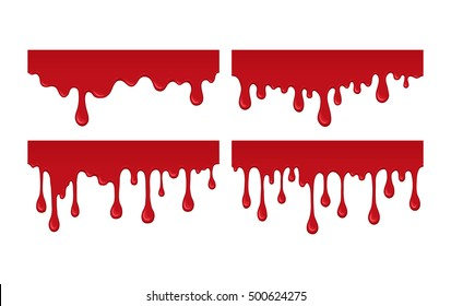 Set of blood drips. Red liquid drop and splash. Paint drips and flowing. Collection bloody element for halloween design. Abstract vector illustration isolated on white background.