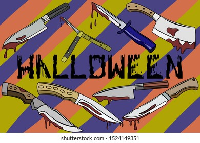 A set of bloodstained knives. The set of knives on Halloween. Drops and splashes of blood, Halloween poster. Wallpapers for Halloween party. Vector image.