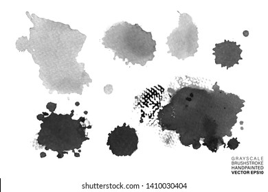 Set of blots and stains isolated on white background vector.