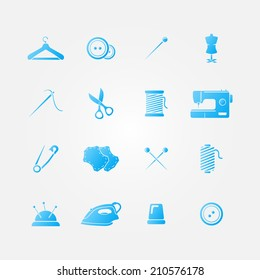 Set of blue 16 sewing tools icons - vector sewing equipment