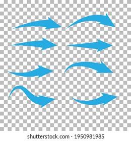 set of blue arrow on transparent background. blue arrow sign. flat style.