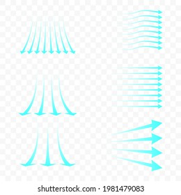Set of blue arrow showing air flow. Blue stream of cold air from the conditioner. Clean fresh air flow. Wind direction. Isolated on transparent background.