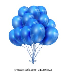 Set of BLue Balloons isolated on White Background