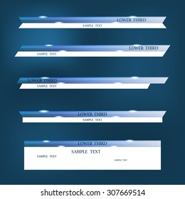 Set of blue banners of lower third. Vector illustration.
