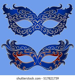 Set of blue beautiful festive masks to celebrate Halloween, New Year, Carnival or party. Elements female holiday costume.