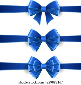 Set of blue bows isolated on white