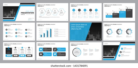 set blue business presentation backgrounds design template and page layout design for brochure ,book , magazine,annual report and company profile , with infographic timeline elements design concept