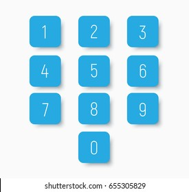 Set of blue buttons with numbers from 0 to 9. Templates for calculator or dial. Vector illustration