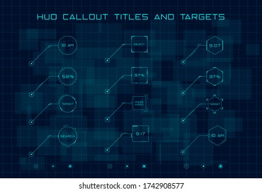 Set of blue callout titles and targets in HUD style on dark digital hi tech background. HUD callout title in shape of circle, rectangle and hexagon. Editable stroke. Good for animation.