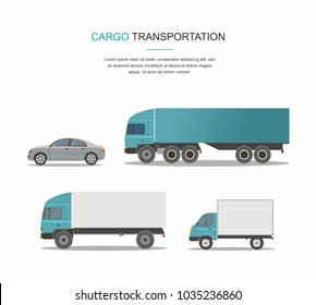 Set Blue Cargo Delivery Truck Isolated on White Background