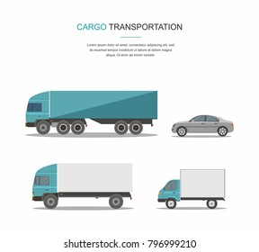 Set Blue Cargo Delivery Truck Transporation Isolated on White Background
