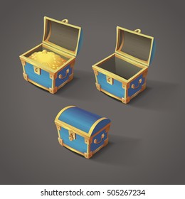 Set of blue chests. Open empty chest, full of gold chest and closed with lock chest. Vector illustration of cartoon treasure chests.