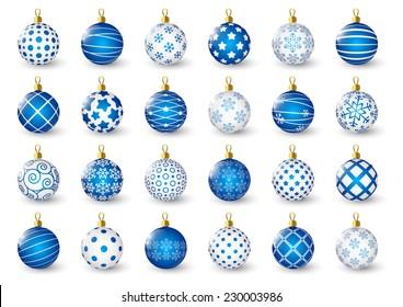 Set of blue Christmas balls
