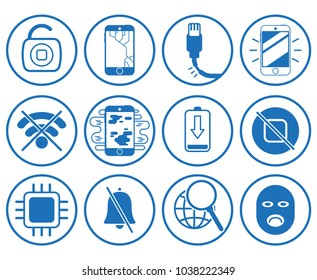 Set blue circle flat line minimal icon logo for team repair serviced restoration support help with phone smartphone tablet computer iphone gadget technology concept. Modern vector style illustration.