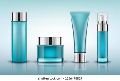 Set blue cosmetic bottles packaging mockup, ready for your design, vector illustration.