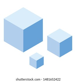 Set blue cubes icon. Isometric of set blue cubes vector icon for web design isolated on white background