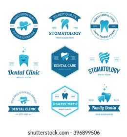 Set of blue dental clinic, dentist and stomatology labels, signs and logos design templates with teeth icons isolated on white background
