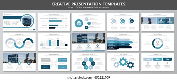 Set of blue elements for multipurpose presentation template slides with graphs and charts. Leaflet, corporate report, marketing, advertising,  book cover design.