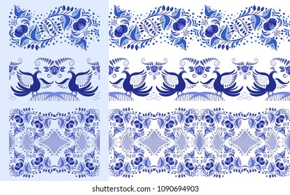 Set of blue ethnic patterns in the style of national porcelain painting. Ornaments with flowers and birds isolated on white. Vector illustration