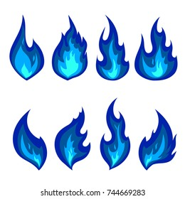Set of blue fire icons. Flat vector illustration. Collection of blue flames or campfires isolated on white