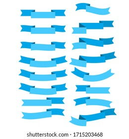 Set of blue flat ribbons isolated on white background. Ribbon banner vector illustration.