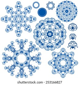 Set of  blue floral circle patterns. Background in the style of Chinese painting on porcelain. Ornamental design elements.