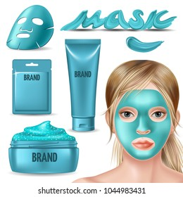 Set of blue foil mask and scrub for face. Advertising skin care purifying peel-off mask. Girl in spa salon. 3d vector realistic illustration.