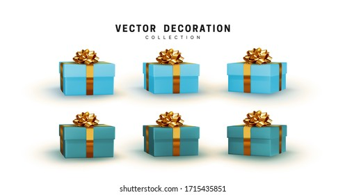 Set of blue gifts box. Collection realistic gift presents. Surprise boxes. Celebration decoration objects. Isolated on white background. vector illustration