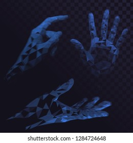 Set of blue glowing low poly arms, gesture, hends on transperent background