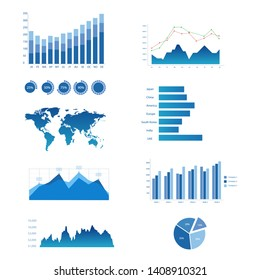 Set of blue graph and  diagram chart for mock up business and financial graphic elements. Vector illustration.