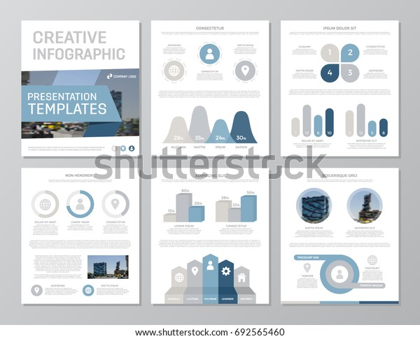 Set of blue and gray elements for multipurpose a4 presentation template slides with graphs and charts. Leaflet, corporate report, marketing, advertising,   book cover design.