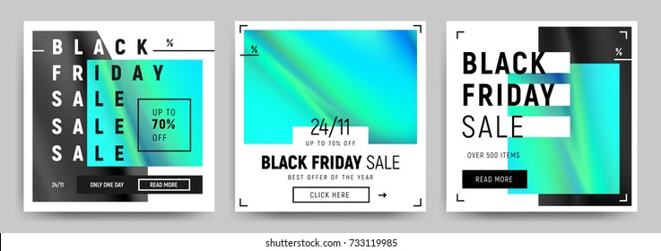 Set of blue, green and black gradients sale banners. Minimalistic abstract design for social media, ads, promo posters. Black friday business offer template. Vector illustration EPS10.