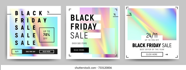Set of blue, green and pink gradients sale banners. Minimalistic abstract design for social media, ads, promo posters. Black friday business offer template. Vector illustration EPS10.
